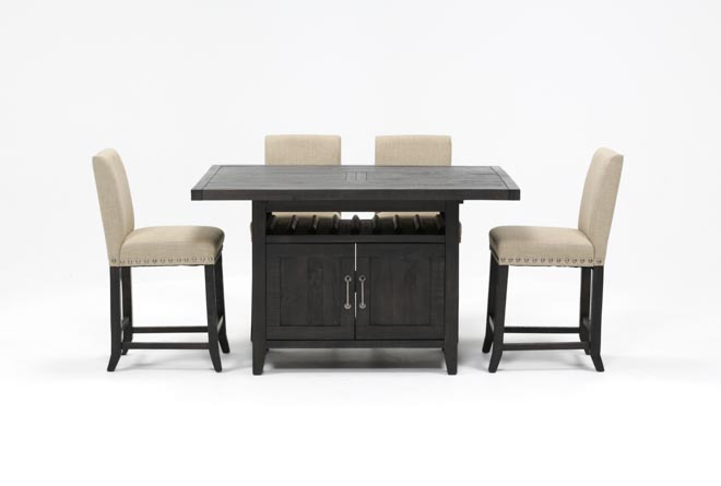 Jaxon 5 Piece Extension Counter Set W/Fabric Stools - 360