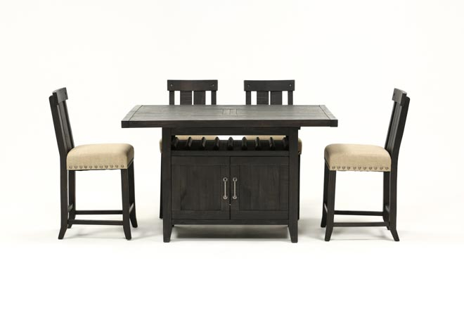 Jaxon 5 Piece Extension Counter Set W/Wood Stools - 360