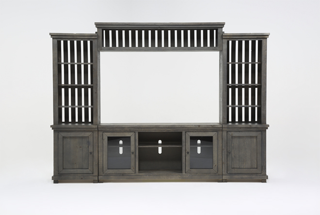 Sinclair Grey 4 Piece Entertainment Center - 360
