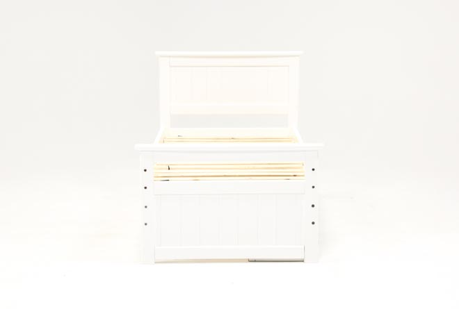 Summit White Twin Panel Bed With Single 4-Drawer Storage Unit - 360