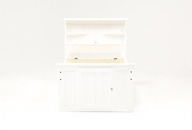 Summit White Twin Bookcase Bed With Double 4-Drawer Storage Unit - 360