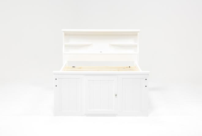 Summit White Full Bookcase Bed With Double 4-Drawer Storage Unit - 360