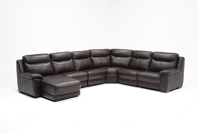 Courtney Walnut 6 Piece Power Reclining Sectional W/Laf - 360