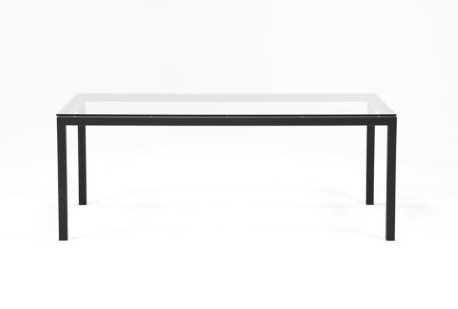 Ina Matte Black 78 Inch Dining Table W/Clear Glass - 360