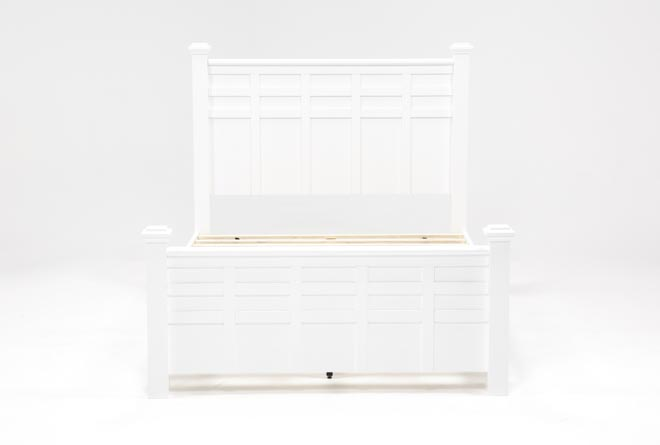 Bayside White Eastern King Poster Bed W/Storage - 360