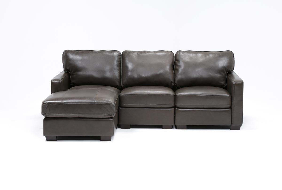 Redford coffee 3 piece left facing chaise sectional for Chaise coffre