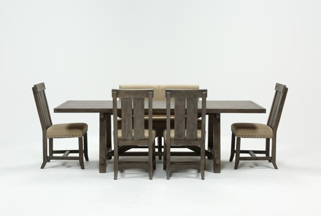 Jaxon Grey 6 Piece Rectangle Extension Dining Set W/Bench & Wood Chairs - 360