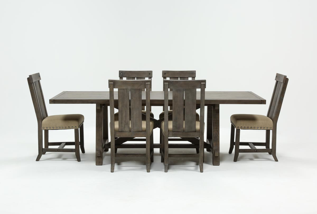 1f8615770cc Jaxon Grey 7 Piece Rectangle Extension Dining Set W Wood Chairs - 360