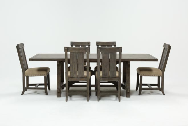 Jaxon Grey 7 Piece Rectangle Extension Dining Set W/Wood Chairs - 360