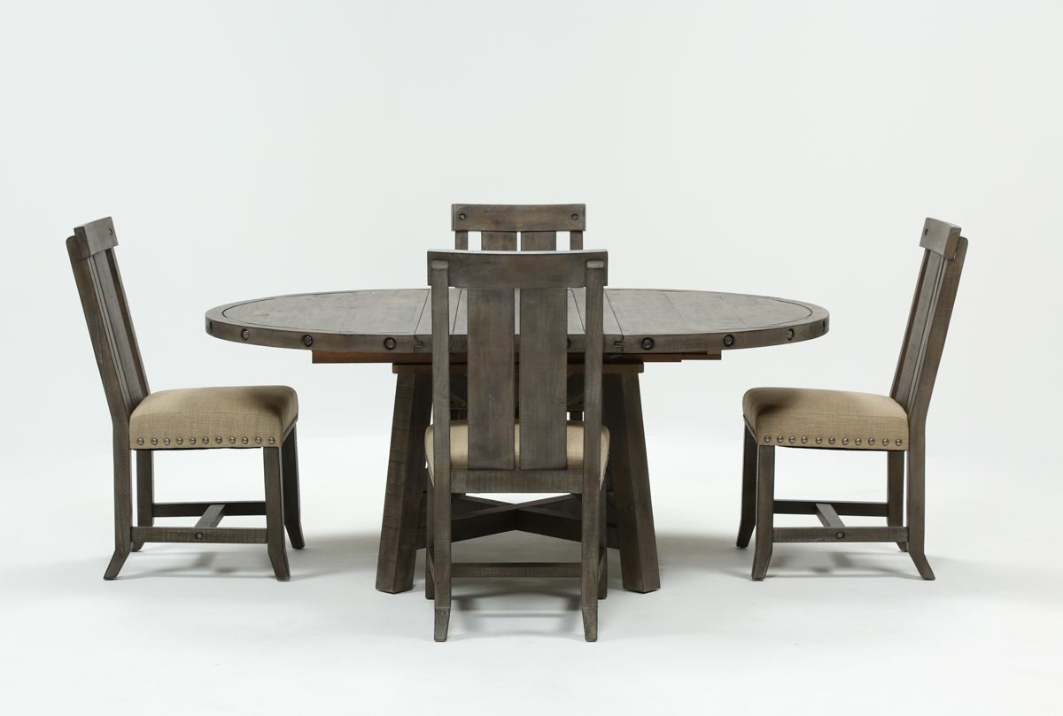 1d0b96943f Jaxon Grey 5 Piece Round Extension Dining Set W/Wood Chairs | Living ...