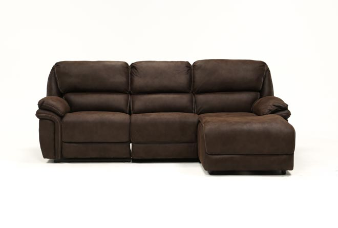 Norfolk Chocolate 3 Piece Sectional W/Raf Chaise - 360