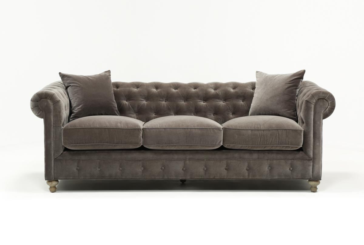 Mansfield 96 Inch Graphite Velvet Sofa   360