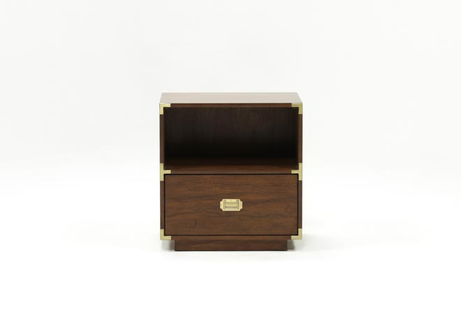 Adams Walnut 1-Drawer Nightstand - 360