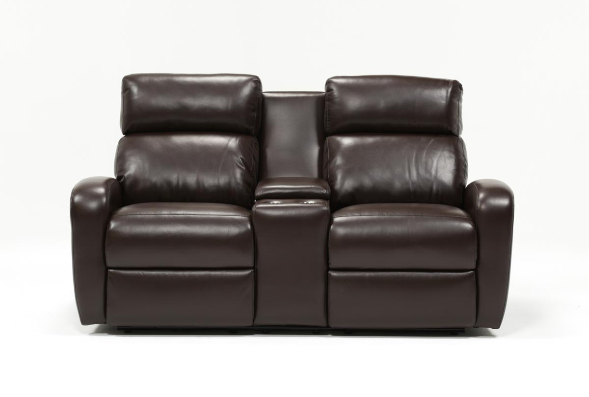 Darwin Chocolate Power Reclining Loveseat Wconsole Living Spaces