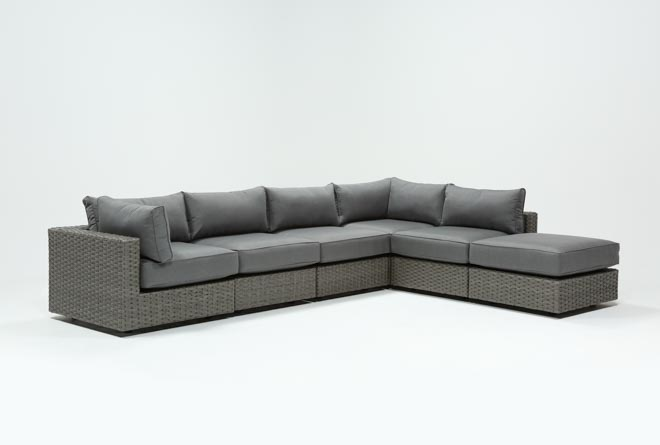 Outdoor Koro 6 Piece Sectional W/1 Ottoman & 2 Corners - 360