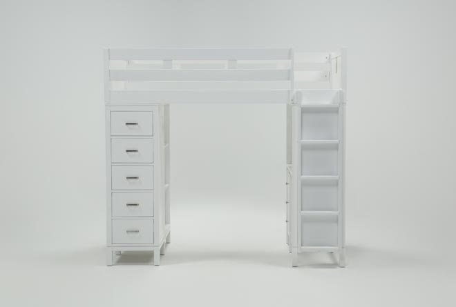 Hayden White Loft Bed - 360