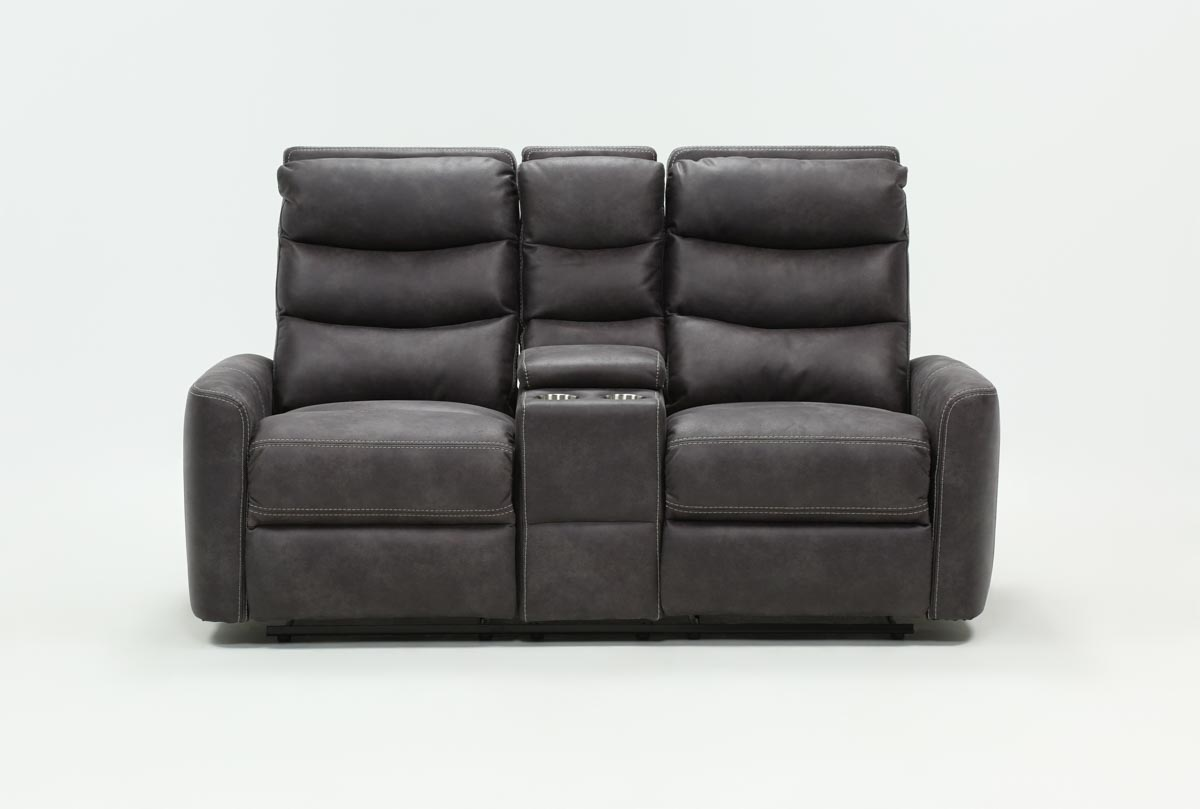 Malia Power Reclining Console Loveseat With Usb Living