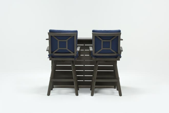Outdoor Martinique II 3 Piece Bar Set With Navy Stools - 360