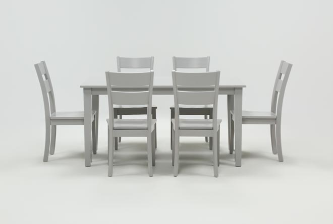 Lindy 7 Piece Dove Grey Rectangle Dining Set - 360