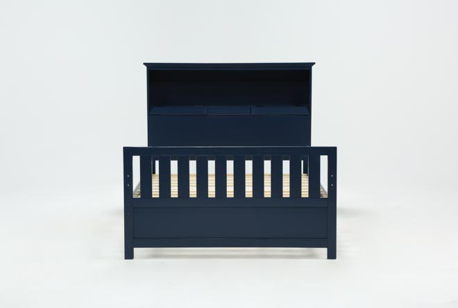 Taylor Navy Full Bookcase Bed - 360