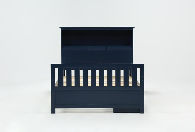Taylor Navy Full Bookcase Bed With Single 3- Drawer Storage - 360