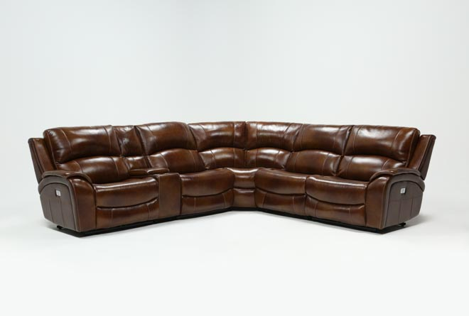 Travis Cognac Leather 6 Piece Power Reclining Sectional W/Pwr Hdrst & Usb - 360