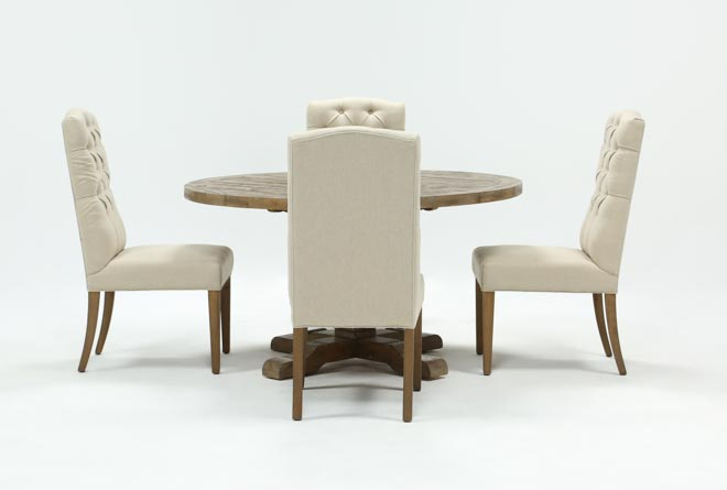 Caden 5 Piece Round Dining Set With Upholstered Side Chairs - 360