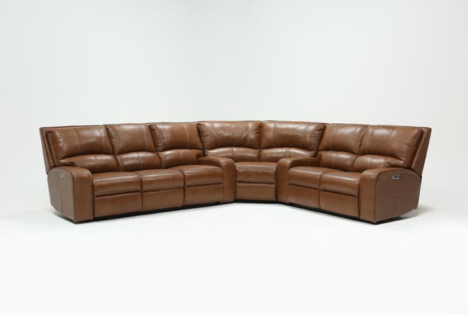 Clyde Saddle 3 Piece Power Reclining Sectional W/Power Hdrst & Usb - 360