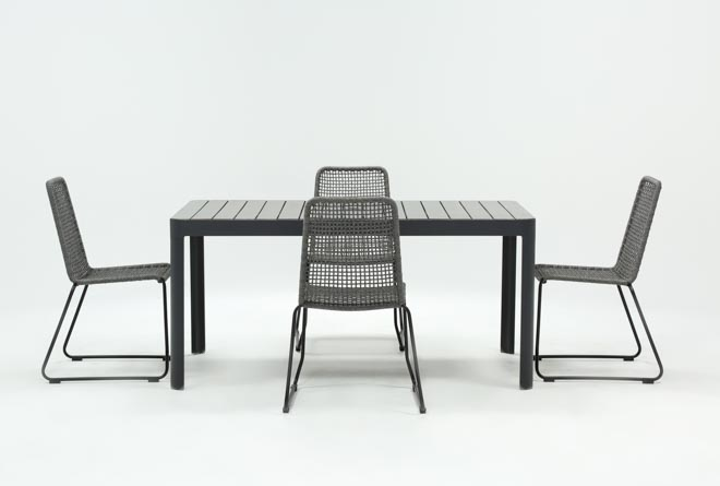 Outdoor Andaz Dining Table With 4 Pilo Grey Side Chairs - 360