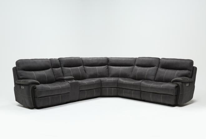 Denali Charcoal Grey 6 Piece Reclining Sectional W/2 Power Headrests - 360