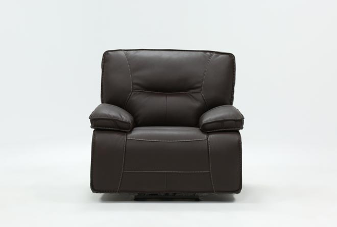 Marcus Chocolate Power Recliner With Power Headrest And Usb - 360