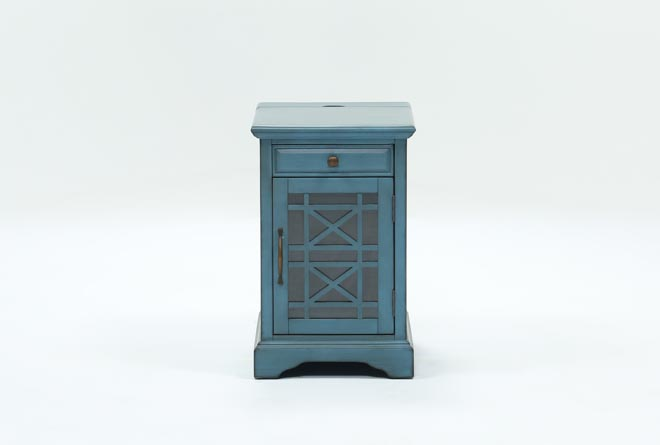 Annabelle Antique Blue Power Chairside Table - 360