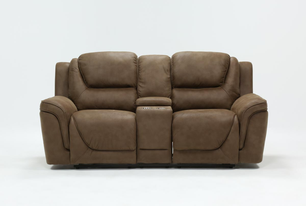 Denver Fawn Power Reclining Console Loveseat With Power