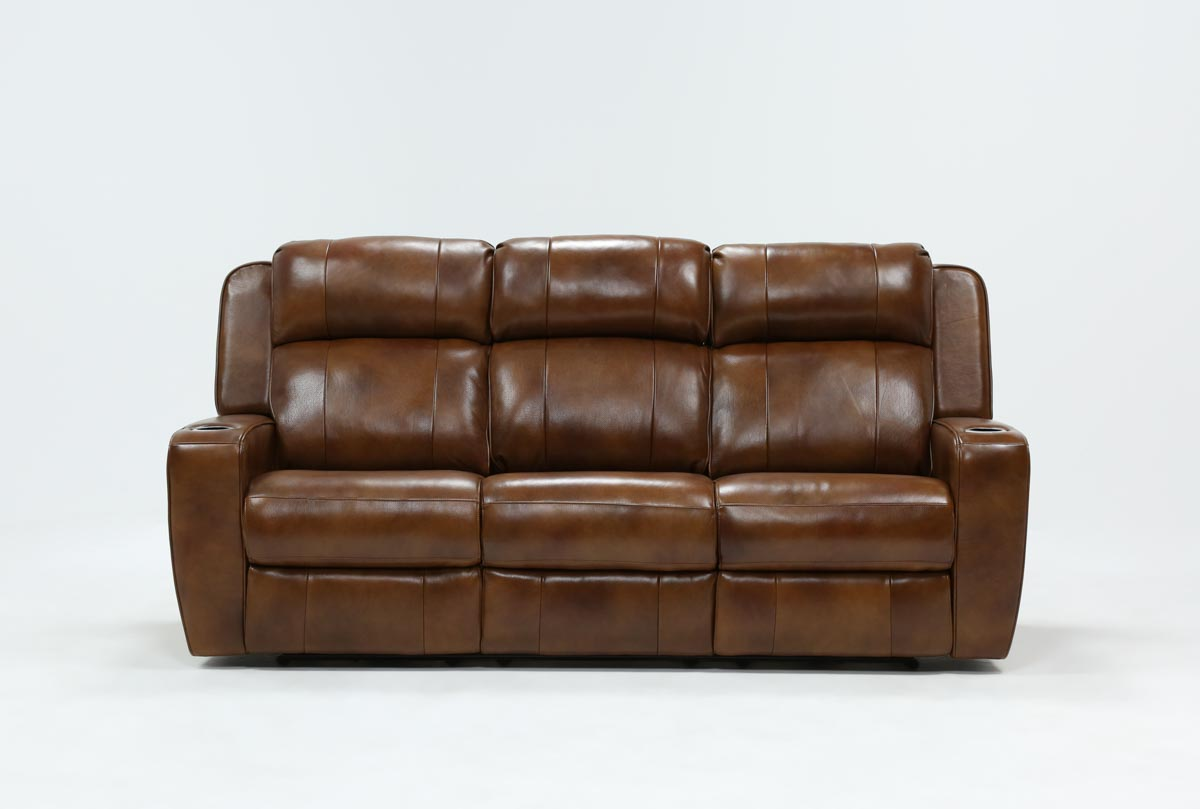 Phelps Leather Power Reclining Sofa W Power Headrest Amp Usb Living Spaces