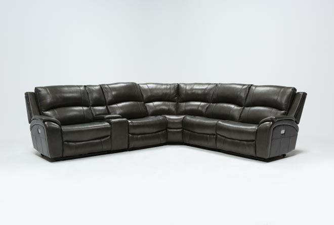 Travis Dk Grey Leather 6 Piece Power Reclining Sectional W/Pwr Hdrst & Usb - 360