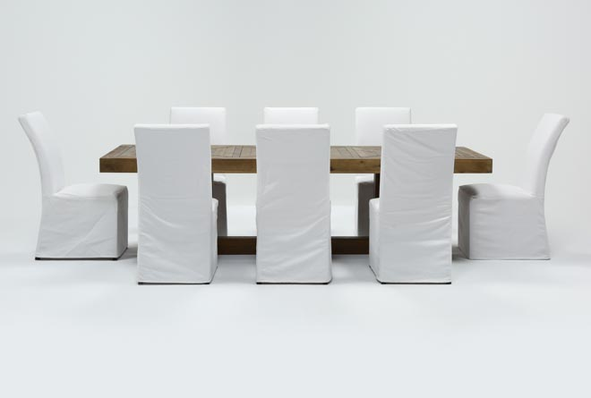 Palazzo 9 Piece Dining Set With Pearson White Side Chairs - 360