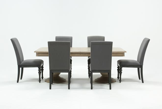 Caira 7 Piece Rectangular Dining Set With Upholstered Side Chairs - 360
