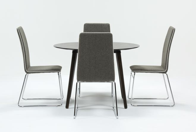 Swift 5 Piece Round Dining Set With Oliver Side Chairs - 360