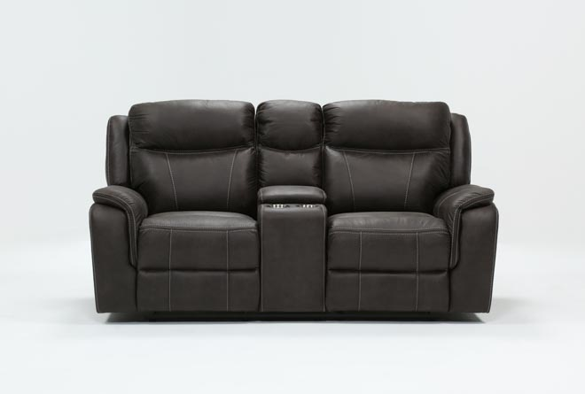 Griffin Grey Power Reclining Loveseat With Console - 360