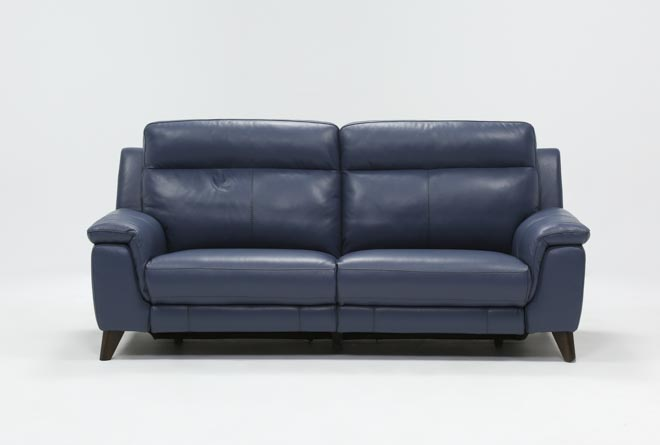 Moana Blue Leather Dual Power Reclining Sofa With Usb - 360