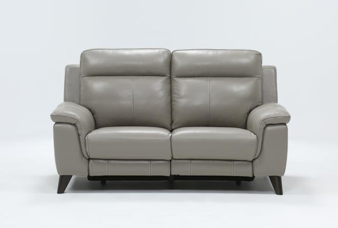 Moana Taupe Leather Dual Power Reclining Loveseat With Usb - 360