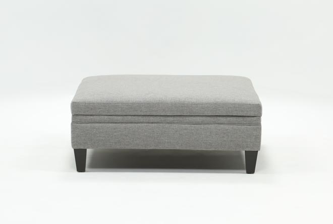 Adler Graphite Fabric Large Square Storage Ottoman - 360