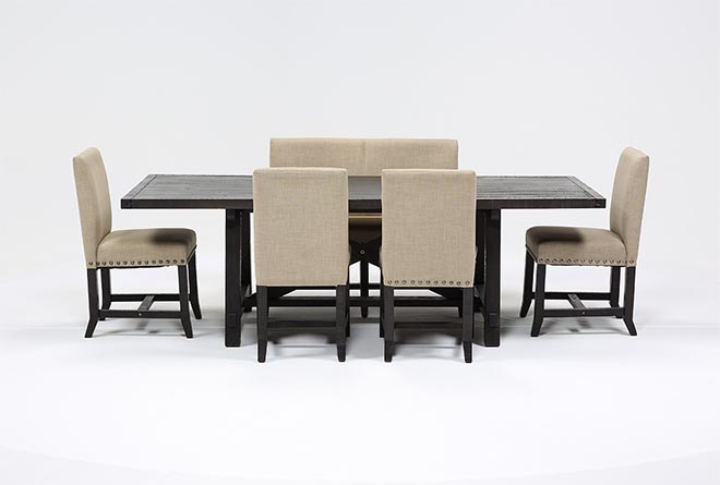 Jaxon 6 Piece Rectangle Dining Set W/Bench & Uph Chairs - 360