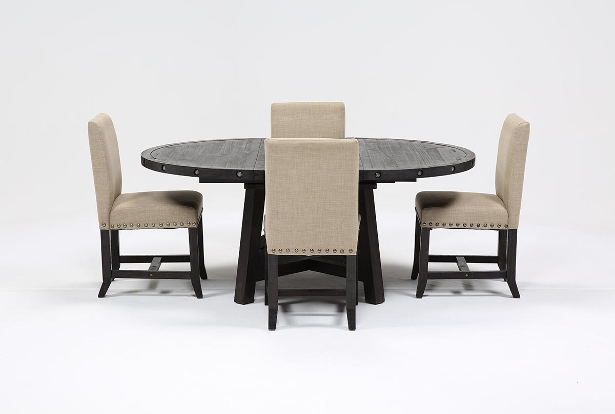 Jaxon 5 Piece Round Dining Set W Upholstered Chairs