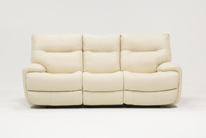 Oliver Ivory Leather Power Reclining Sofa - 360
