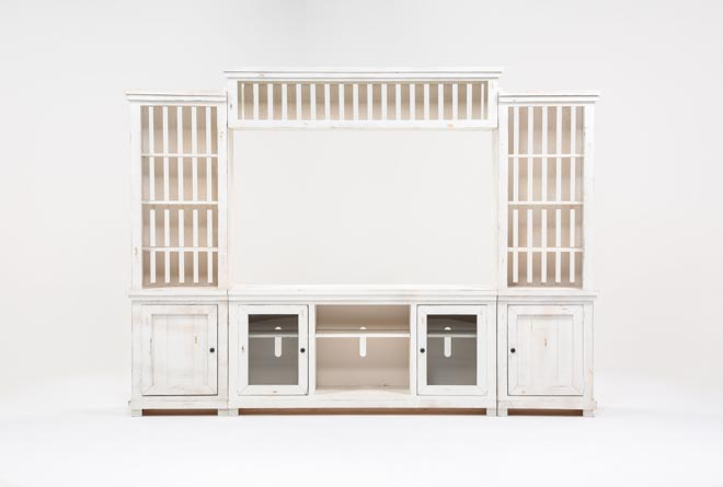 Sinclair White 4 Piece Entertainment Center - 360