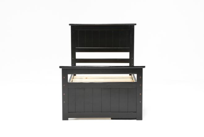 Summit Black Twin Panel Bed With Single 2-Drawer Underbed Storage - 360