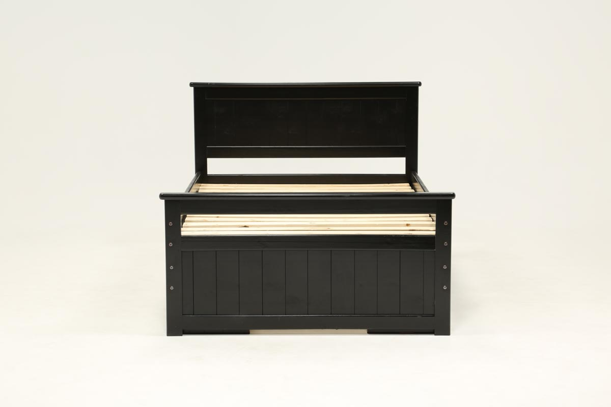 Summit Black Full Panel Bed With Double 4 Drawer Storage