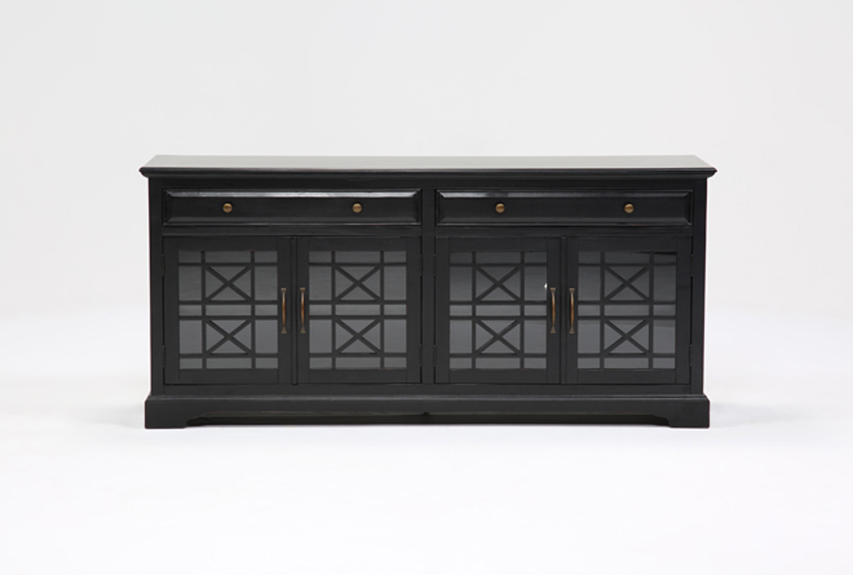 annabelle black 70 inch tv stand living spaces. Black Bedroom Furniture Sets. Home Design Ideas