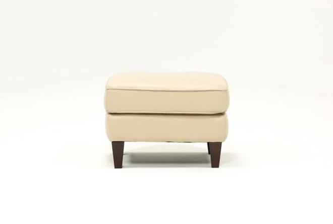 Madison Taupe Leather Ottoman - 360